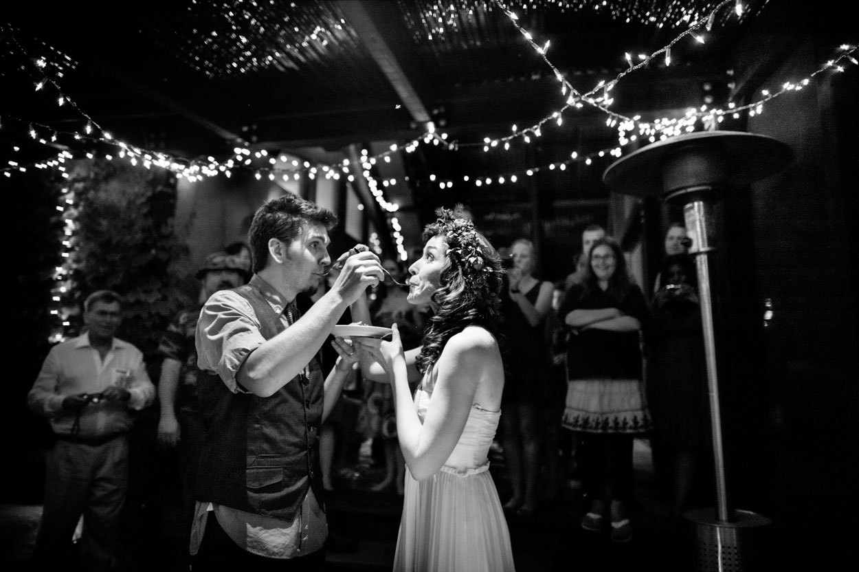 Artists, California, Ranch Wedding, black and white, cake cutting, calliote canyon wedding, forest, music, ojai wedding photography